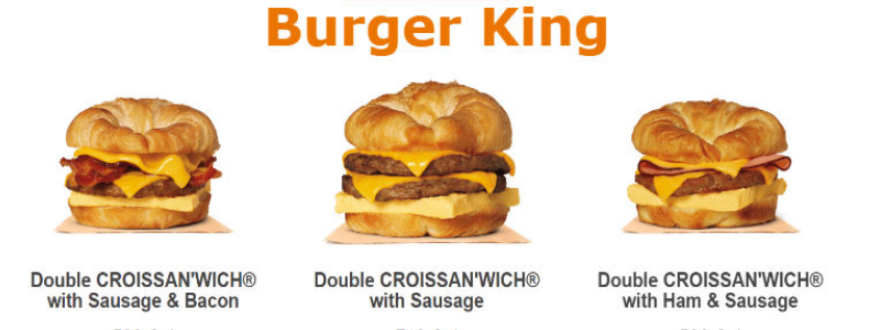 Burger King Breakfast menu